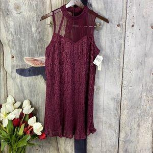 NWT Speechless Wine Lace Dress Size Medium